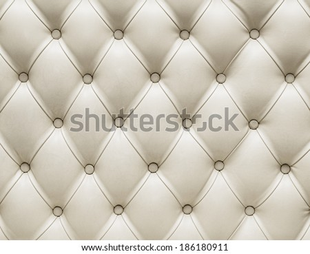 genuine white leather upholstery chesterfield style - stock photo