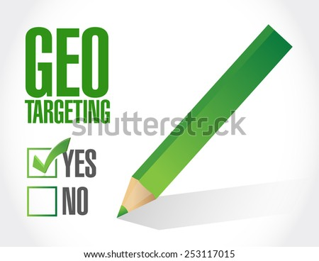 geo targeting check mark selected illustration design over a white background - stock photo