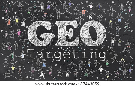Geo Targeting on Blackboard with Small Humans in Chalk - stock photo