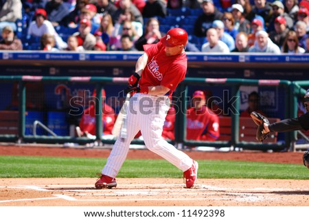 Geoff Jenkins - Philadelphia Phillie swinging and breaking his bat