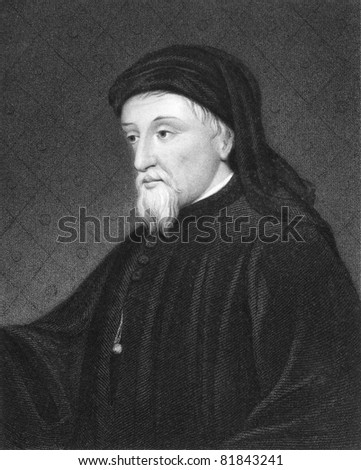 Geoffrey Chaucer (1343-1400). Engraved by J.Thomson and published in The Gallery Of Portraits With Memoirs encyclopedia, United Kingdom, 1833. - stock photo