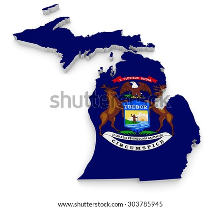 Geographic border map and flag of Michigan, The Great Lakes State