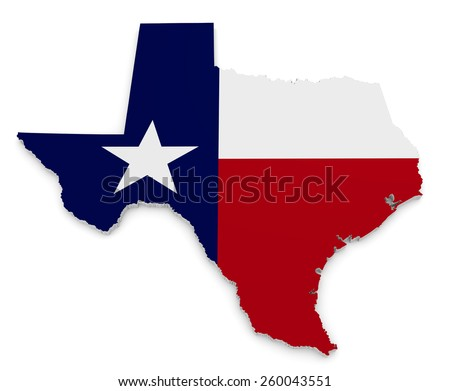 Geographic border map and flag of Texas, The Lone Star State - stock photo