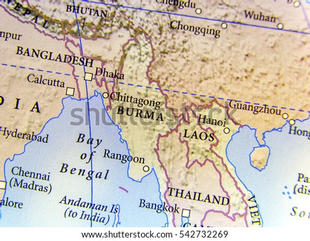 Geographic map india nepal bhutan bangladesh stock photo 626480828 geographic map of burma bangladesh and laos country with important cities gumiabroncs Choice Image