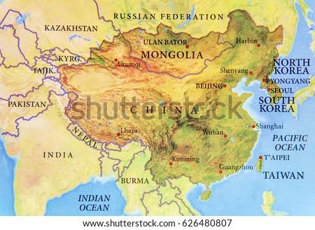 Geographic map chine mongolia north korea imagen de archivo stock geographic map of chine mongolia north korea and south korea with important cities gumiabroncs Choice Image