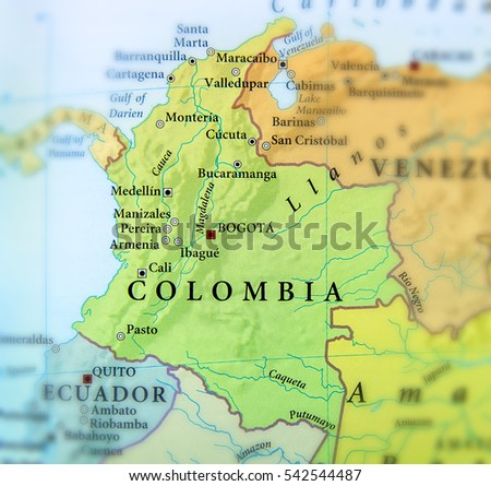 Geographic Map Columbia Countries Important Cities Stock Photo (Edit ...
