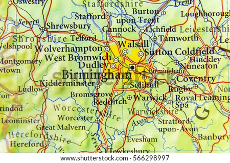 Geographic Map European Country Uk Birmingham Stock Photo Royalty