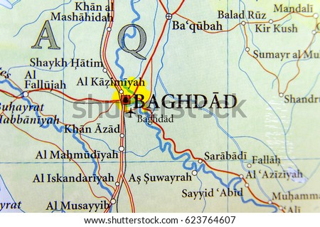 Geographic Map Irag Capital Baghdad City Stock Photo Royalty Free