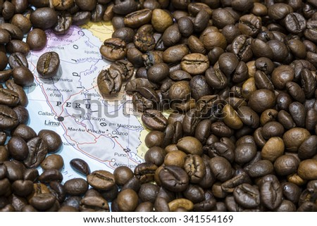 Geographical map of Peru covered by a background of roasted coffee beans. This nation is between the ten main producers and exporters of coffee. Horizontal image.