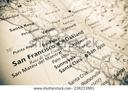 Geographical view of San Francisco - stock photo