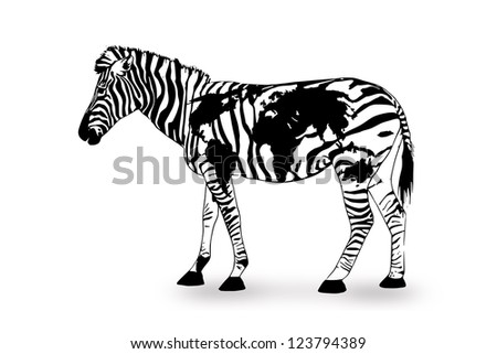 geography zebra - zebra with world map - stock photo
