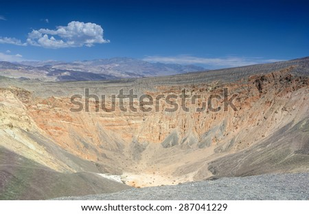 Geological Formations in Ubehebe Volcano in Death Valley National Park. The Ubehebe Crater is the largest crater in Death Valley. - stock photo