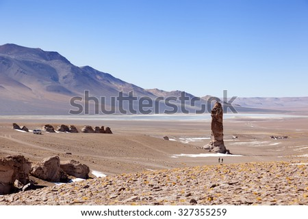 Geological monolith close to Salar de Tara - stock photo