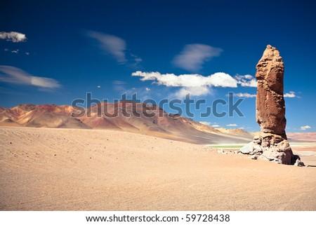 Geological monolith near Salar de Tara, Los Flamencos National Reserve - stock photo