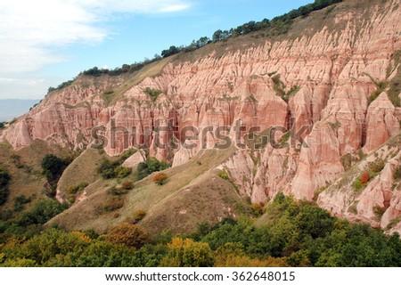Geological reserve. The ravine of Rapa Rosie, Romania - stock photo