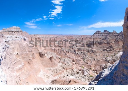Geological rock formations of Badlands National Park in South Dakota in western United States. - stock photo