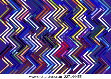 Geometric abstract illustration of multicolored zigzags on blue background - stock photo