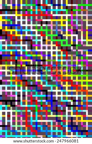 Geometric abstract of multicolored grid on dark gray