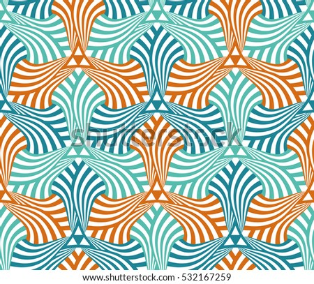 Geometric abstract seamless pattern motif background. Colorful hexagonal shapes composition
