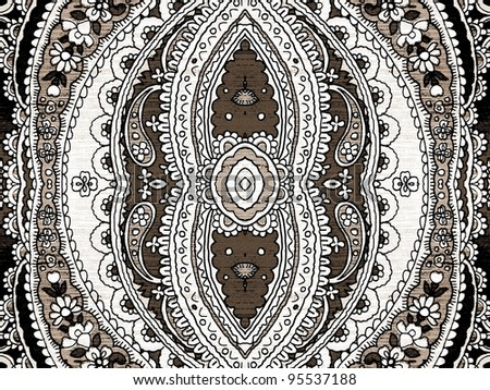 Geometric, abstract, vintage, retro, grungy, arabesque ornamented tile in brown, sepia, white and black. - stock photo