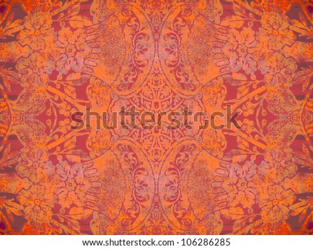Geometric, abstract, vintage, retro, grungy, arabesque ornamented tile in orange and purple. Good for islamic, arabian, middle east, scrapbooking, damask, abstract or interior design. - stock photo