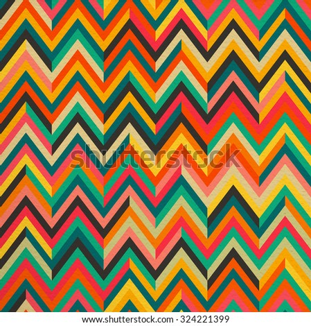 Geometric abstract zigzag colorful vintage retro seamless pattern background. Ideal for fabric, wrapping paper and book cover design.