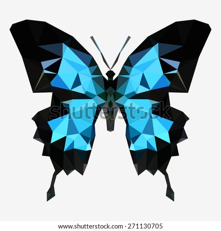 Geometric blue butterfly with many triangles  - stock photo