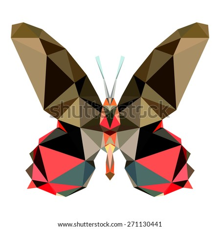 Geometric butterfly with many triangles  - stock photo