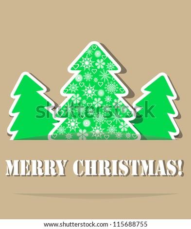 Geometric christmas trees with shade. Main tree decorated snowflakes - stock photo