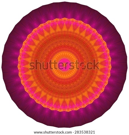 Geometric Decorative Ornament. Multicolored ornamental pattern in round shape. Image shows rich vibrant purple, magenta, red and orange colors. Image contains a lot of details even at full zoom. - stock photo