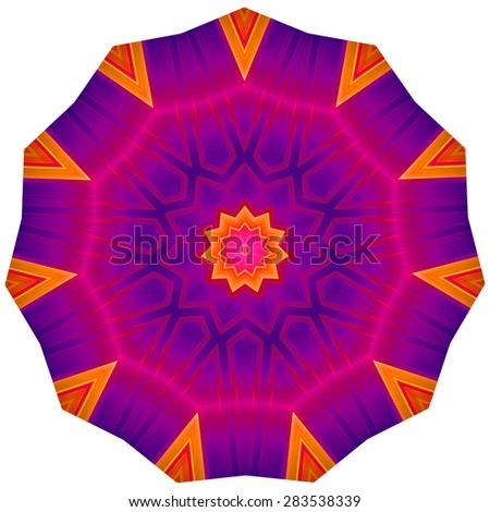 Geometric Decorative Rosette. Multicolored ornamental pattern in round shape.  Image shows rich vibrant purple, magenta, red and orange colors. Image contains a lot of details even at full zoom. - stock photo