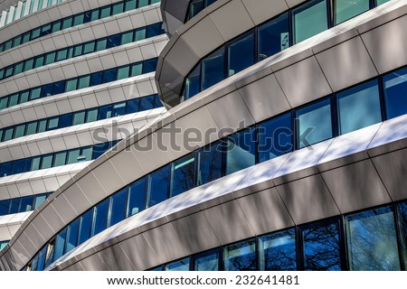 Geometric design architectural details of a modern office building in the Netherlands - stock photo