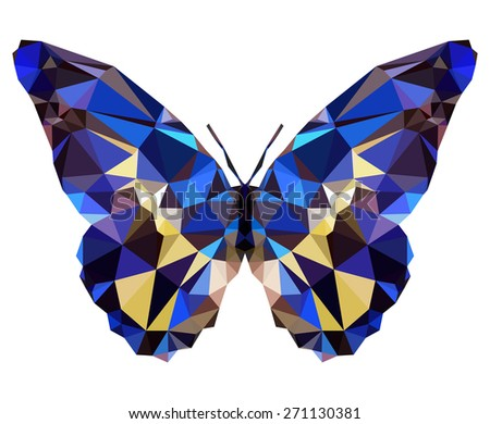 Geometric elegant butterfly with many triangles  - stock photo