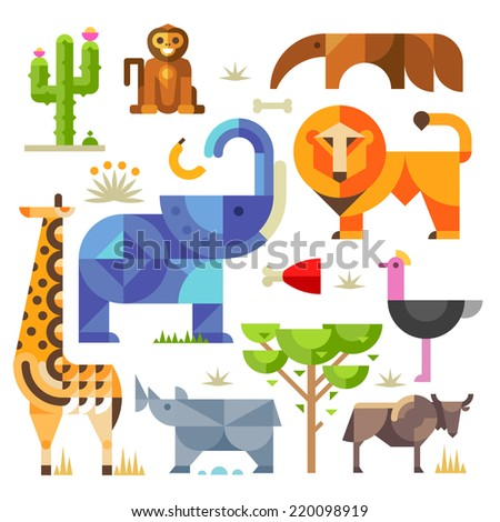 Geometric flat Africa animals and plants, including elephant, lion, monkey, giraffe, rhino, ostrich, anteater, hyena, cactus - stock photo