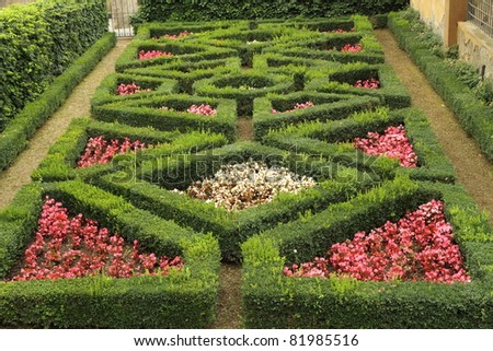 geometric  flowerbed  in Boboli Gardens in  Florence,Unesco World  Heritage site, Tuscany, Italy - stock photo