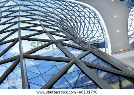 geometric glass facade - stock photo