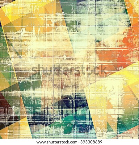 Geometric grunge texture, decorative vintage background. With different color patterns: yellow (beige); brown; green; blue; red (orange) - stock photo