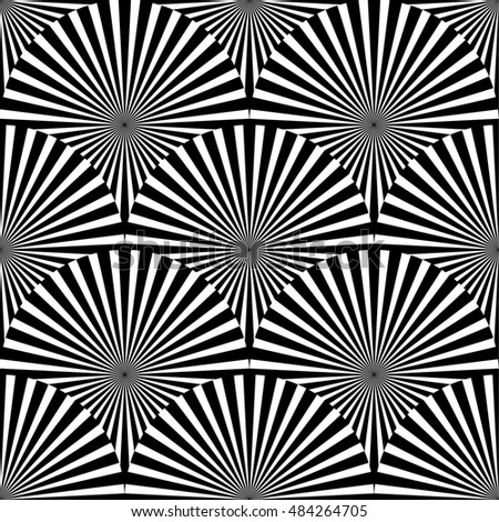 Geometric monochrome pattern with overlapping circles containing radial, radiating lines