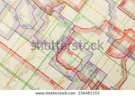Geometric Multi Colored Zoned Topographical Map Segment. - stock photo