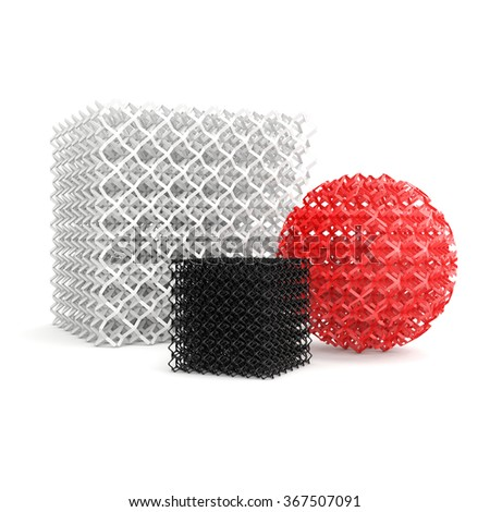 geometric objects made by 3D printer, isolated on white background - stock photo