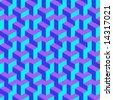 Geometric optical art background in blue, purple and aqua. - stock photo