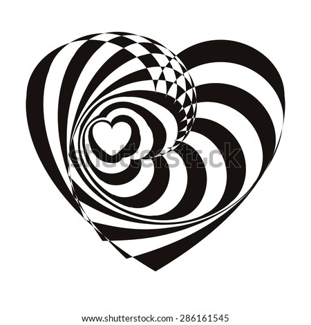 Geometric optical illusion black and white heart on a white background. Vector illustration - stock photo