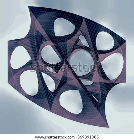 Geometric Organic Wireframe Shape 176 - stock photo