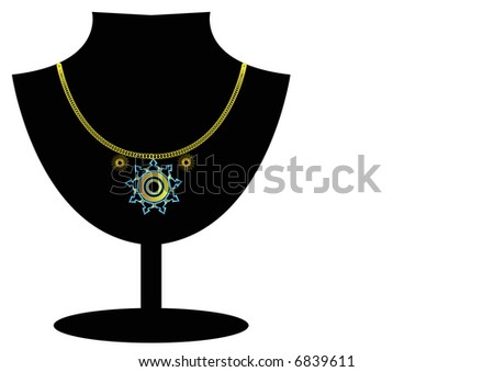 geometric pendant necklace on jewelry stand