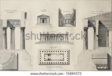 Geometric plan of Temple of Concordia, Agrigento, Sicily. By Renard and Berthault, published on Voyage Pittoresque de Naples et de Sicilie, by J. C. R. de Saint Non, Impr. de Clousier, Paris, 1786 - stock photo