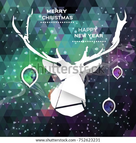 Geometric Polygonal Deer. Merry Christmas and Happy New Year concept. Holiday design background. Paper cut style .  applique illustration