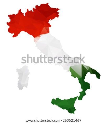 Geometric polygonal design map of Italy.Italy flag overlay on Italy map with geometric polygonal.Raster version. - stock photo