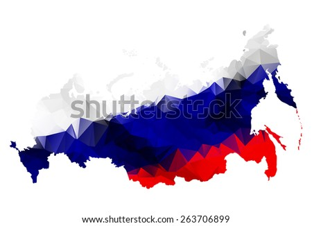 Geometric polygonal style map of Russian Federation with Crimea.Raster version. - stock photo