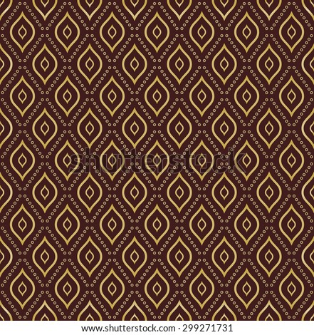 Geometric repeating  ornament. Seamless abstract modern texture with diagonal dots for wallpapers and background. Brown and golden pattern - stock photo