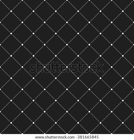 Geometric repeating ornament with diagonal dots. Seamless abstract modern black and white pattern
